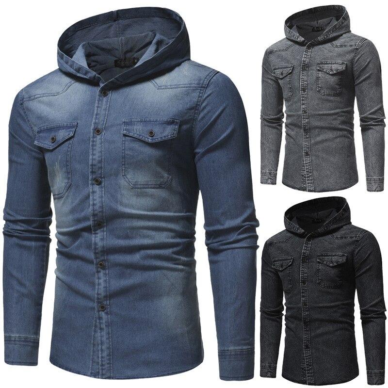 2019 VISADA JAUNA Spring New Wash Denim Shirt Men Long Sleeve Fashion Hooded Jeans Shirt Men Casual Slim Fit Brand Korean Style