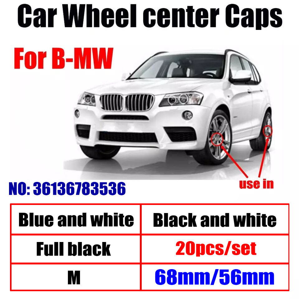 20pcs 68mm 56mm Car Wheel Center Hub caps Rim Caps Covers Logo For BMW X1 X2 X3 X5 X6 1 3 5 7 Series E65 E66 F01 F02 F48 G01 F48