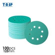 TASP 100pcs 125mm Wet and Dry Sandpaper 5 Waterproof 8 Hole Anti Clog Sanding Discs 60 400 Grit Hook & Loop Film Backing