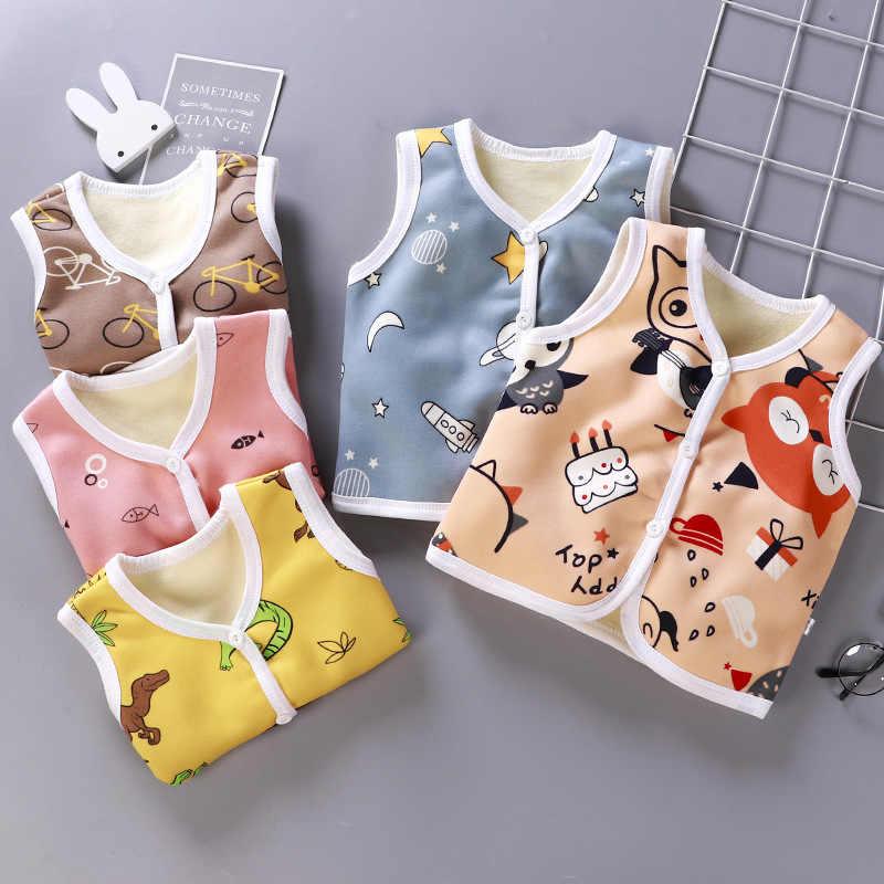 2019 nuevo bebé cálido chaleco grueso lindo 1-6y niños ropa de dibujos animados Chaleco de algodón de terciopelo bebé niño niña invierno grueso Outwear abrigo