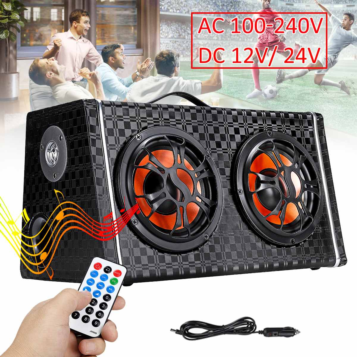 6 Inch 600W Under-Seat Dual Bass Car Subwoofer Wireless Bluetooth Speaker Car Stereo Amplifier Car Audio Power FM Radio Player