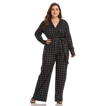 TUHAO 2019 High Waist Plaid Black Jumpsuits Women Wide Leg Pants Autumn V-neck Long Sleeve Romper Women Overalls HC267