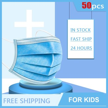 50PCS Disposable Face Mouth Mask For Kids Soft Breathable 3 Layers Anti-Dust Respirator Elastic Earloop Mask For Childres TSLM1 1