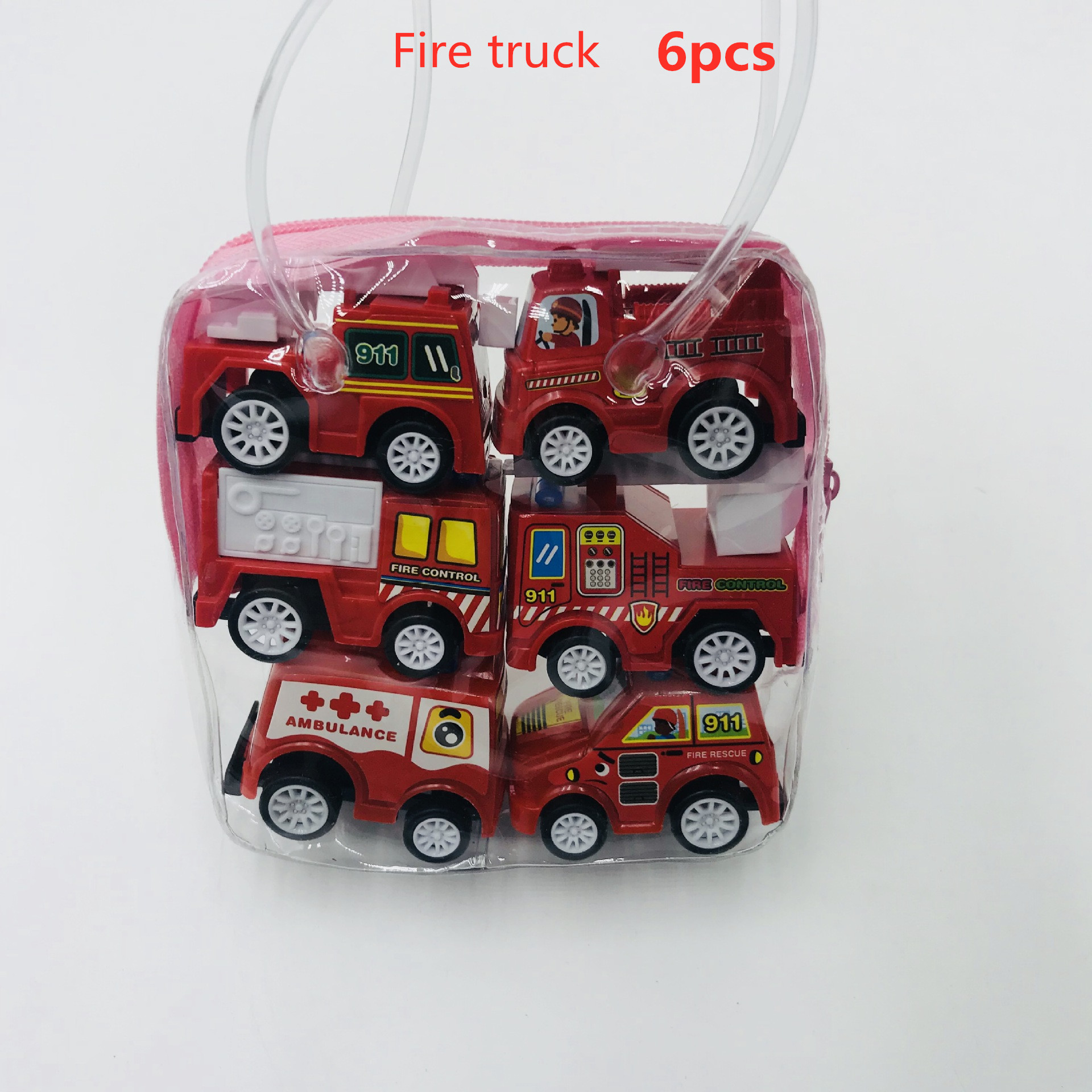 6pcs Pull Back Car Toys Mobile Machinery Shop Construction Vehicle Fire Truck Taxi Model Baby Mini Cars Gift Children Toys 2019 3