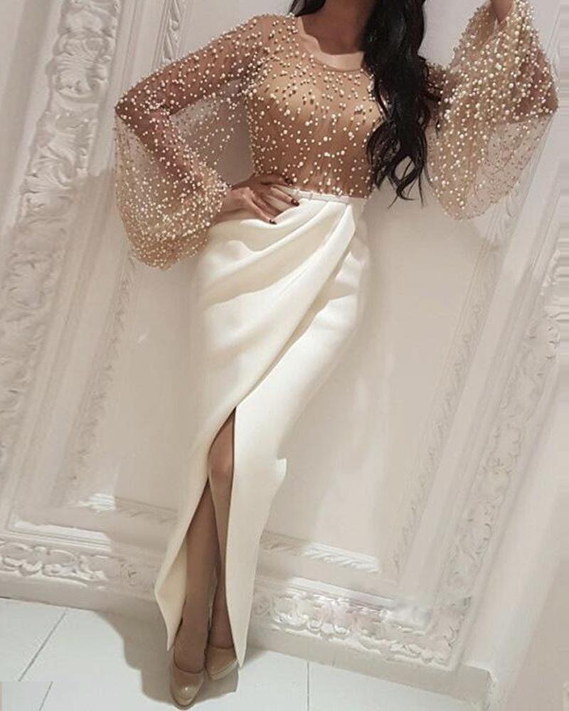 2019 Autumn Women Elegant Formal Gown Maxi Dress Female Stylish Long Party Dress Beaded Embellished Mesh Patchwork Slit Dress