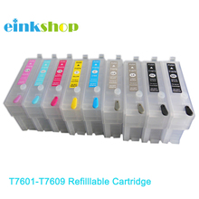 9pcs Empty Refilllable ink cartridges for Epson P600 surecolor T7601 T7602 T7603 T7604 T7605 T7606 T7607 T7608 T7609