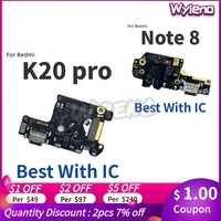 Wyieno For Xiaomi Redmi Note 8 K20 Pro USB Dock Charging Port Fast Charger Flex Cable Microphone MIC Board With IC