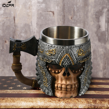 1Pcs 3D Axe ePacket Handle Viking Warrior 450ML Skull Mug Gothic Tankard Halloween Decoration Skeleton Cup Beer Stein Man Gift tankard tankard r i b