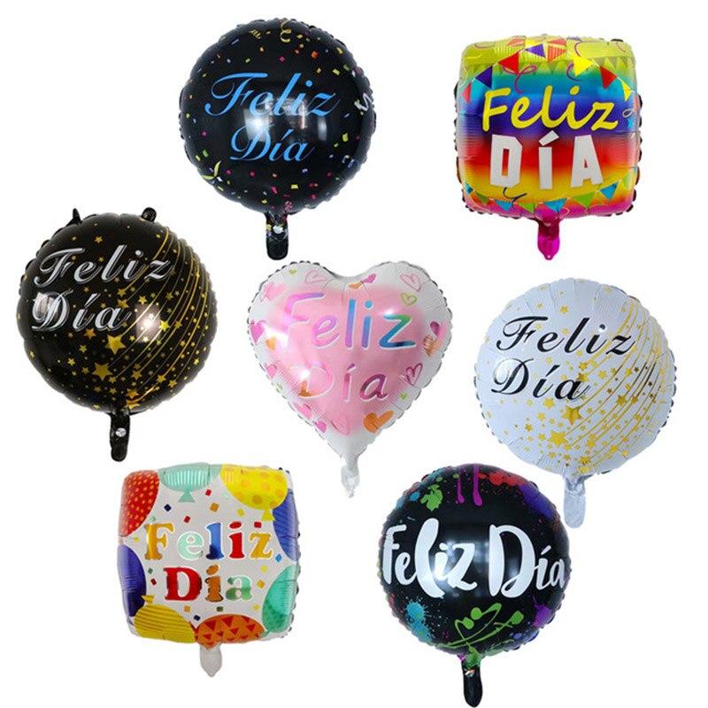 10 шт 18inch испанский Feliz Dia воздушные шары из фольги с днем рождения вечерние украшения Свадебная обувь круглого гелия душа ребенка Дети Globos