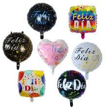 10 pçs 18 polegada espanhol feliz dia folha balão feliz festa de aniversário decoração adulto casamento redondo hélio bebê chuveiro crianças globos