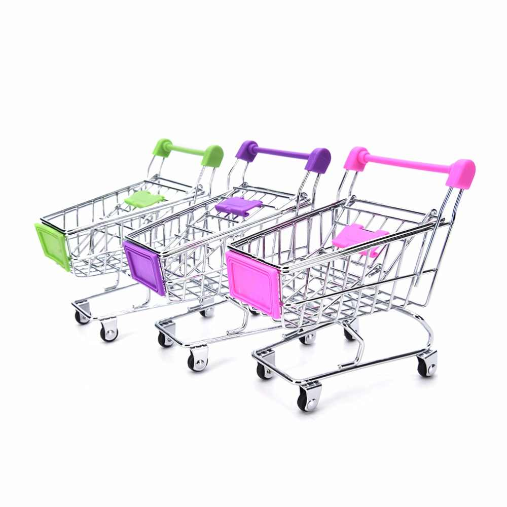 1 pc supermercado carrinho de compras utilitário carrinho de armazenamento modo brinquedo criança carrinho de compras organizador brinquedo 11.5x8.2x12 cm