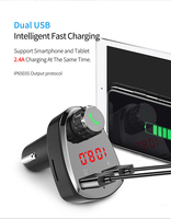 fm tf Car Charger with FM Transmitter Bluetooth Receiver Audio MP3 Player TF Card  Car Kit Dual USB Car Phone Fast Charger (3)