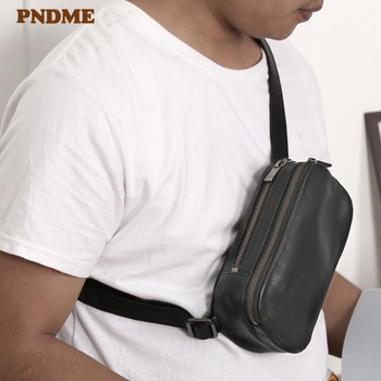 PNDME casual genuine leather men's small chest bag simple high quality real cowhide multifunctional women shoulder messenger bag 2018 rivet genuine leather women s small messenger bag mini flap bag first layer cowhide one shoulder cross body quality bag