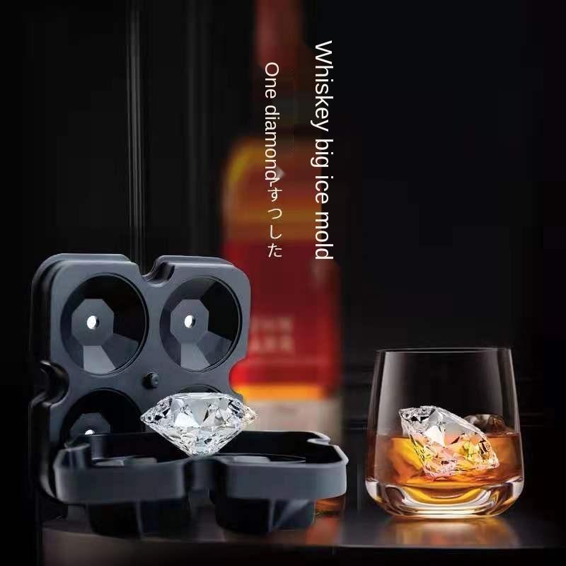 Diamond shape 3D plastic ice making machine ice mold 4 grid ice mold square tray mold