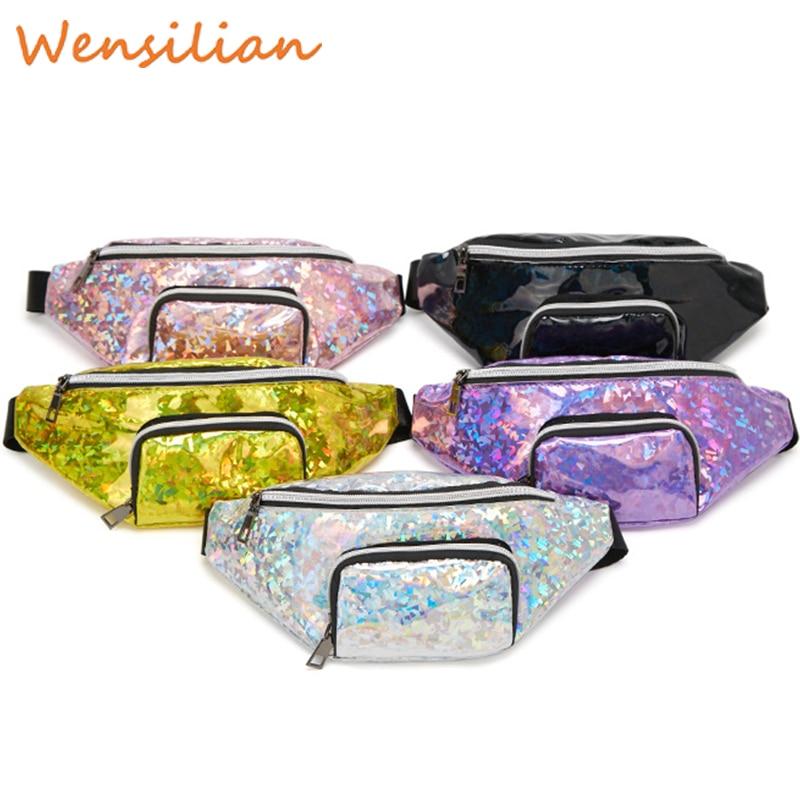 Waist Fanny Pack Belt Chest Bum Banana Bag For Girls Pink Silver Female Money Purse Ladies Phone Pouch Women's Nerka Heuptasje