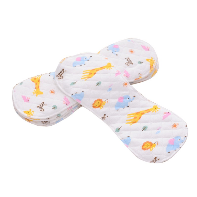 1PC Cotton Baby Nappies Baby Infant Newborn Cloth Diaper Washable Reusable Nappy Liners Insert 3/6 Layers Colorful