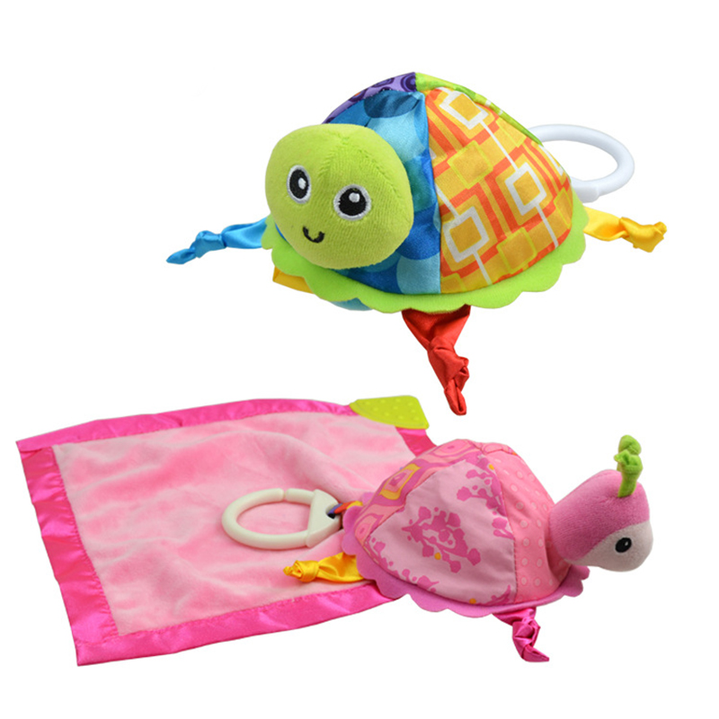 Turtle Storage Comfort Appease Towel Animal Baby Toys Toddler Infant Kids Cotton Fabric Cognize Early Education Rattle