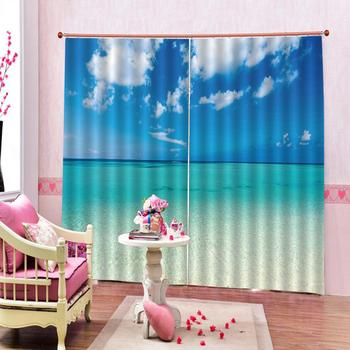 High quality custom 3d curtain fabric Blue sky, white clouds, sea Curtain Luxury 3D Window Curtain For Living Room