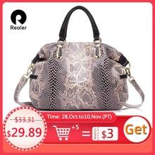 REALER большая женская ручная сумка из натуральной кожи высокого качества со змеиным принтом, сумка с короткими ручками, сумка женская через плечо из натуральной кожи,дамские сумки мешок,