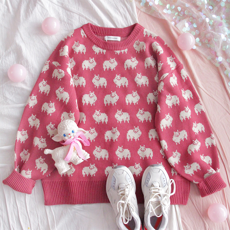 Winter New Women Cute Cartoon Jacquard Sweater Young Girl Loose Student Soft Sister Wild Round Neck Kawaii Casual Pullover Tops