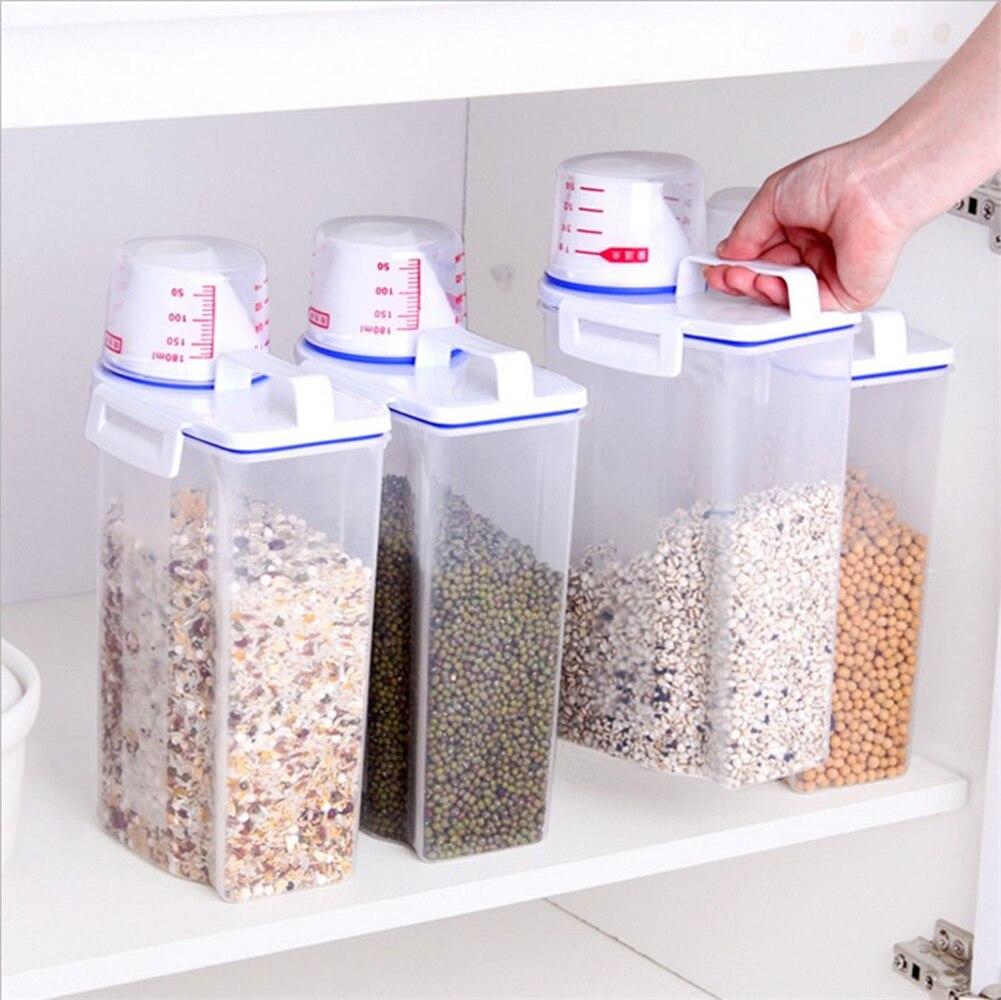 Distributeur de céréales en plastique boîte de rangement cuisine alimentaire Grain riz conteneur Portable organisateur Grain boîtes de rangement 15x7.5x29.5cm