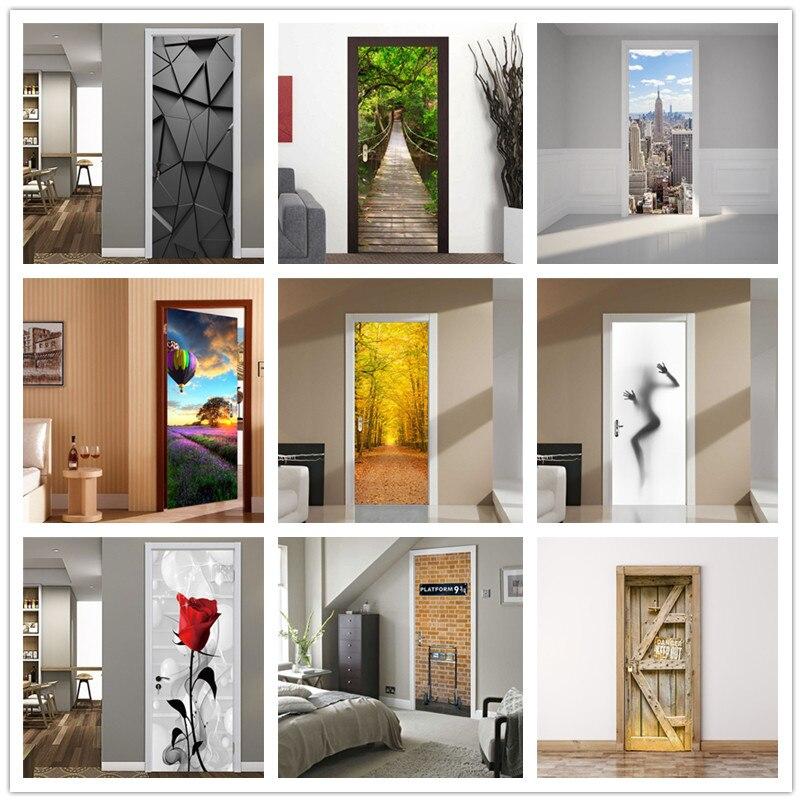 Hot Air Balloon Door Sticker Self-adhesive Idyllic Landscape Stickers Porte For Living Room Bedroom Home Wood Doors Decor Mural