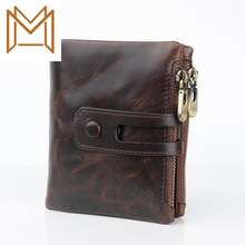 Crazy Horse Layer Skin Rfid Man Wallet Genuine Leather Wallet Zipper Hasp Hand Package