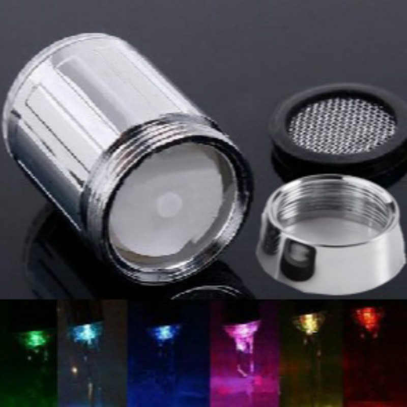 Kreatif 3/7 Warna LED Menyala Kran Air Shower Kran Sensor Suhu Tidak Ada Baterai Suppy untuk Kamar Mandi Dapur Dropshipping