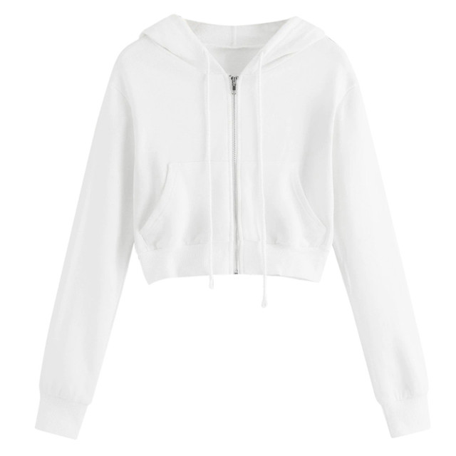 #H30 Spring Autumn Womens Tops And Blouses White Crop Top Women Solid Color Hooded Casual Long Sleeve Zipper Pocket Shirt 2