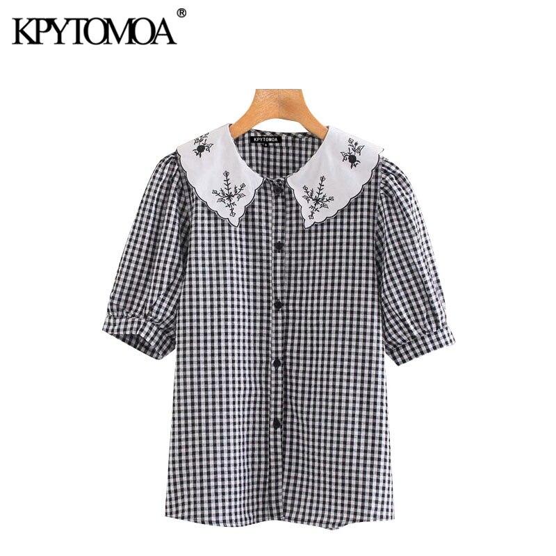KPYTOMOA Women 2020 Sweet Fashion Embroidered Plaid Blouses Vintage Peter Pan Collar Short Sleeve Female Shirts Blusas Chic Tops