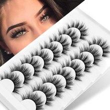 Faux cils 3D en vison, naturels, épais, longs, dramatiques, extensions de maquillage, beauté, 5/8/10 paires, 10-15mm