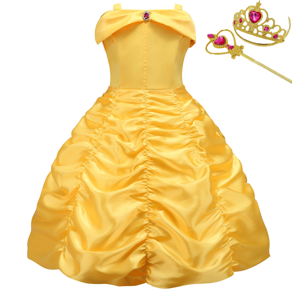 Princess Little Girls Cosplay Summer Flower Dresses Girl's Snow Queen Dress Clothing Baby Kids Beauty Princess Clothes Customes 2