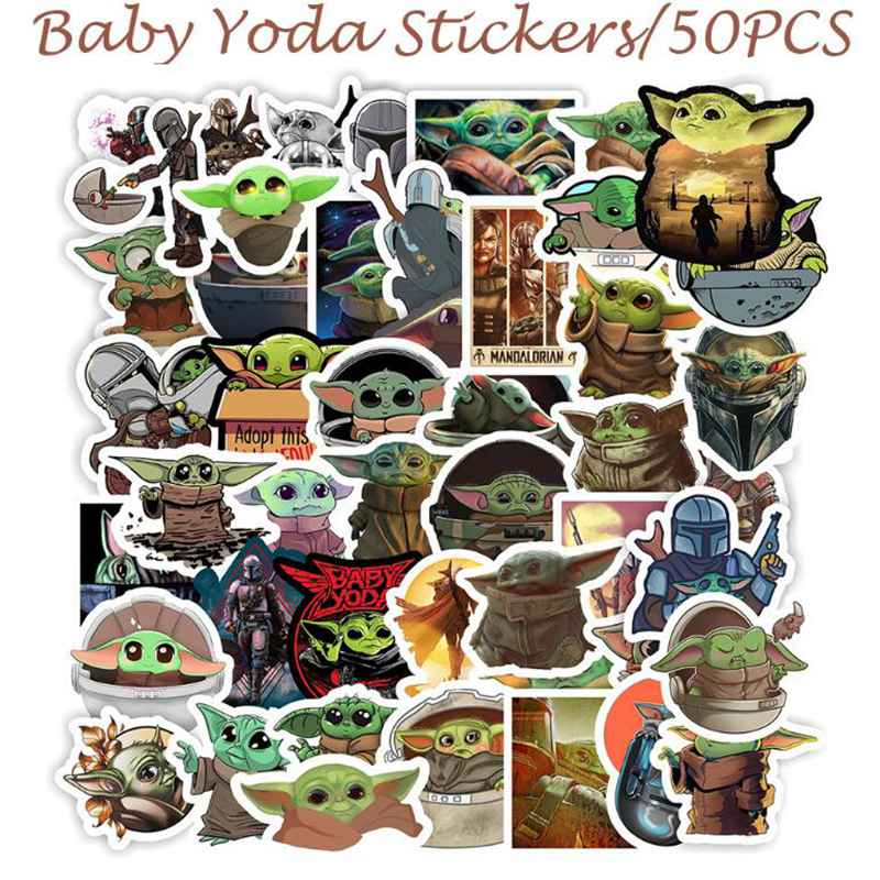 5PCS Cartoon Star Wars Baby Yoda Stickers For Kids Waterproof PVC Laptop Luggage Skateboard Motorcycle Sticker Toys For Children