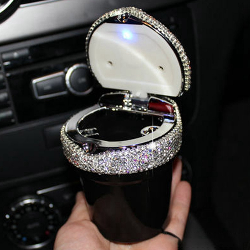 Univerial Portable Car Ashtray With Led Light Crystal Rhinestones Car Ashtray Storage Cup Holder For Girls Woman Car Accessary