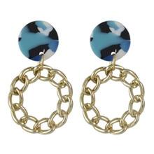 FIAZIA Resin Drop Earrings Women Jewelry Accessories Statement Bijou Round Metal Dangle Earrings Acrylic Earring Blue Girl Gifts цена и фото
