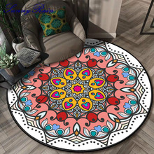 SunnyRain 1-piece Fleece Printed Mandala Area Rug for Bedroom Round Are Rug and Carpet for Living Room mandala water absorption coral fleece rug