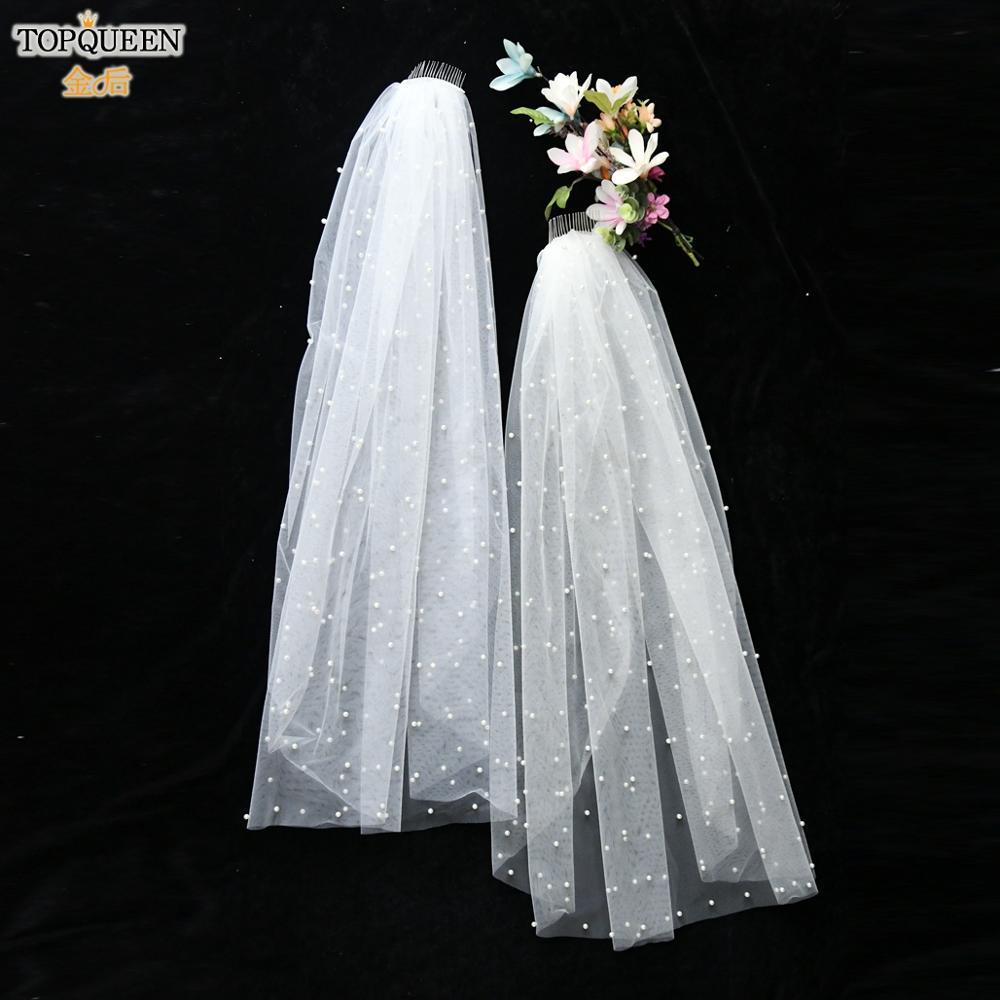 TOPQUEEN V05 90 CM Catholic Veil Royal Pearl Wedding Veil Luxury Veil White Ivory Wedding Veil Short Bridal Women Wedding Veil