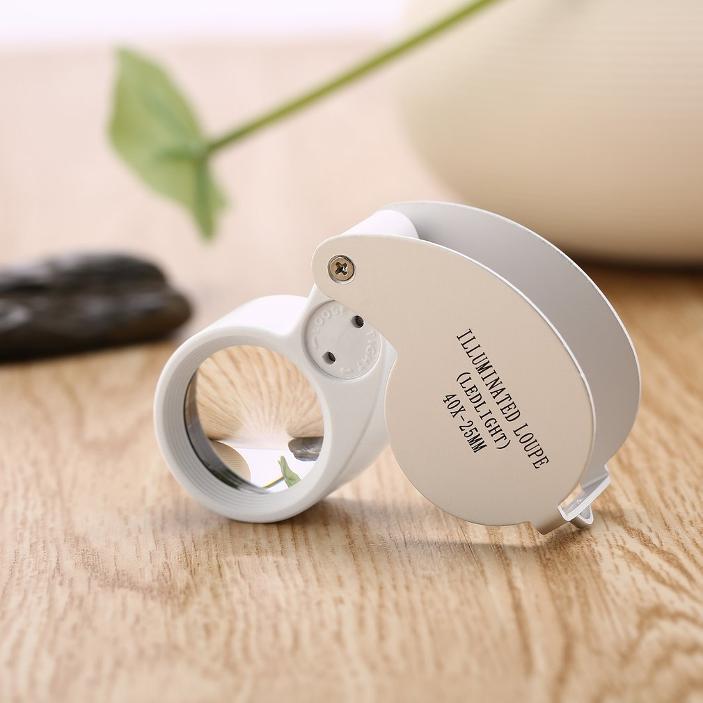 Mini 40x25mm Jewelry Jade Magnifier Illuminated Loupe Portable Fold LED Magnifying Glass Gift Inspecting Cash Stamps Coin