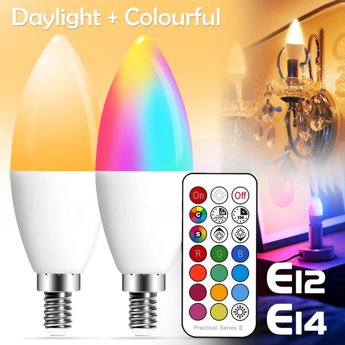 E14 Светодиодная лампа в форме свечи цвет для помещений неоновый знак светильник RGB лента с контроллером светильник ing 220V E12 с регулируемой яр...