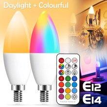 E14 lâmpada led vela cor interior neon sinal lâmpada fita rgb com controlador de iluminação 220v e12 pode ser escurecido lâmpada inteligente para casa