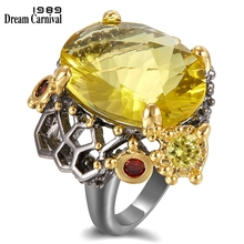 DreamCarnival 1989 Vintage Black Gold Rings for Women Big Golden Color Radian Cut Zirconia Wedding Party Fashion Jewelry WA11689