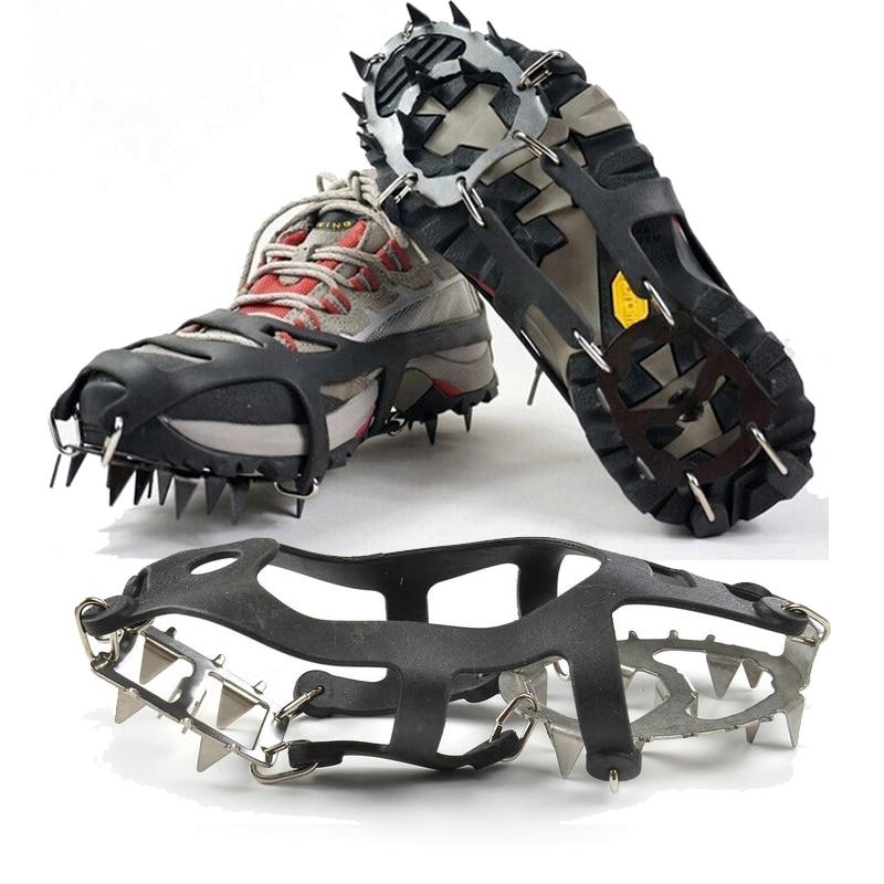 1 Pair 18 Teeth Crampons Non-slip Ice Snow Climbing Anti-slip Shoe Covers Spike Cleats Crampons Anti-slip Overshoes M/L
