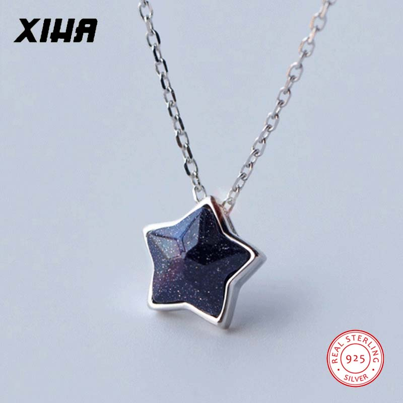 925 Sterling Silver Star Necklace Choker for Women Purple Natural Stone Charm Dainty Adjustable Necklaces Pendants for Girls Kid