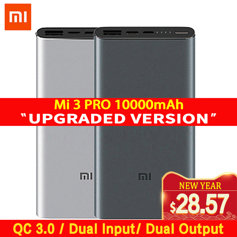 Xiaomi Mi 3 Pro 10000mAh Power Bank Two way Quick Charge USB C Dual Input Output