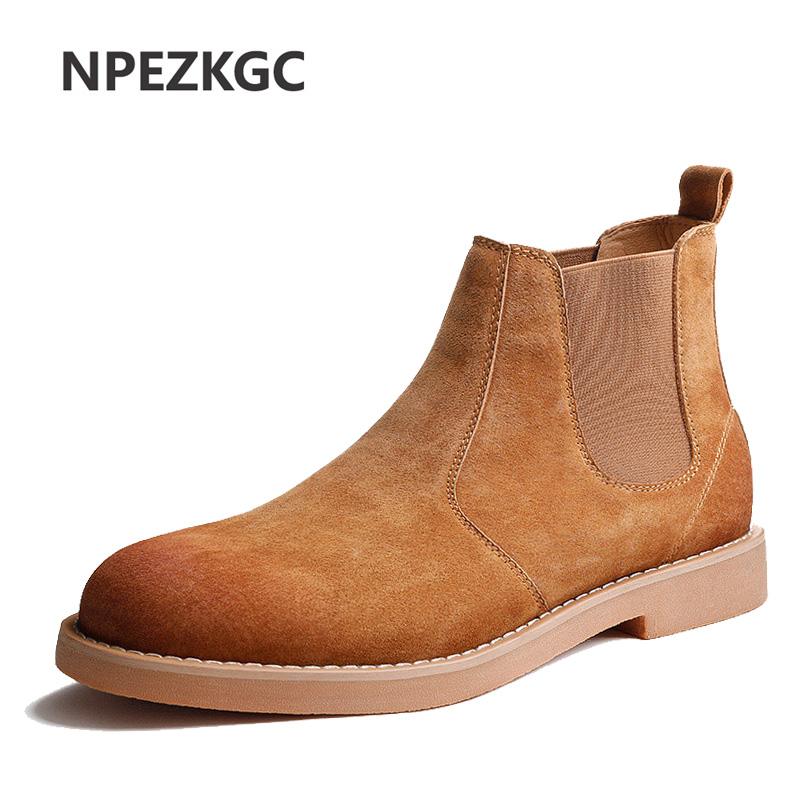 2019 Classic Chelsea Boots Men Handmade Suede Ankle Boots Male Autumn Winter Warm Men's Shoes Wedding Office Botas