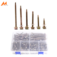 180pcs Self Drilling Screws Assortment Hex Washer Head Self Tapping Screws with Drill Point Zinc Plating M4.5 Length 25mm 75mm