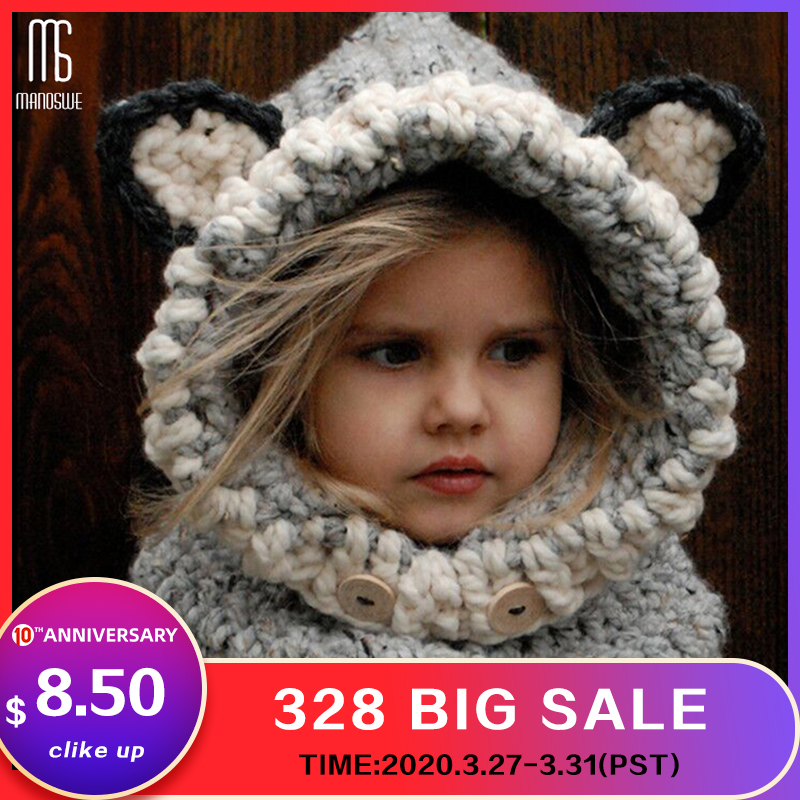 Winter Knitted Thicken Kids Hats Winter Snowboard Cute Cap Fox Wool Neckerchief Balaclava Funny Bonnet Enfant Casual Cap