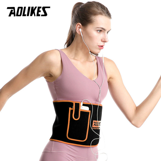 AOLIKES Sports Waist Trimmer Belt Slim Weight Loss Sweat Band Lumbar Brace Support Gym Accessorie Weightlifting Training Fitness 3