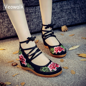 Image 1 - Veowalk Handmade Vintage Pumps Hidden Wedge Heel Women Cotton Embroidered Canvas Shoes Mid Top Ankle Strap Casual Pumps