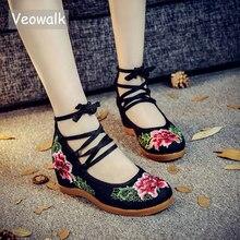 Veowalk/Винтажные туфли лодочки ручной работы; Женские парусиновые туфли на скрытой танкетке с вышивкой из хлопка; Повседневные туфли лодочки с ремешком на щиколотке